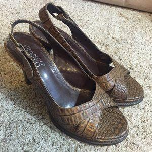 Franco Sarto Brown Sandal Heel